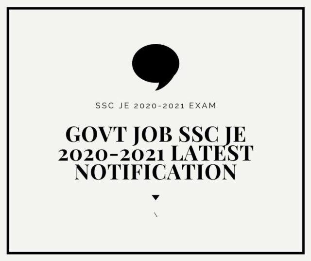 SSC JE 2020-2021